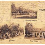 Recas Timisoara Timis carte postala multipla circulata in 1914