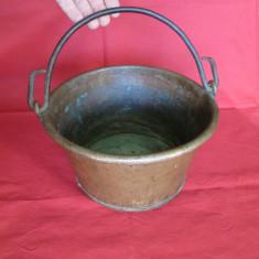 Metal/Fonta - Caldare cupru, ceaun, vas de cupru vechi, caldarusa cupru, vas vechi arama - lucrat manual