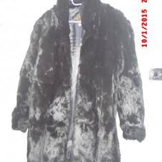 Haina blana, naturala, de iepure, absolut noua, neagra, de dama, marimea 42-46 - Palton dama, Negru, 44/46