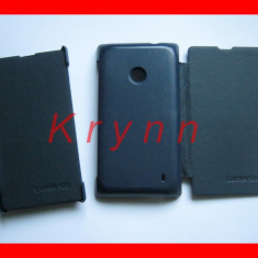 Husa, Nokia Lumia 520, Albastru, Piele Ecologica, Toc - TC91b Toc Piele eco Flip - NOKIA Lumia 520, bleumarin+FOLIE! - TR GRAT PT AVANS!
