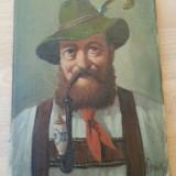 Tablou  pictat ulei pe panza mosu cu pipa 24cm/18cm