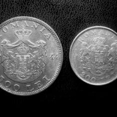 Monede Romania - Lot 2 : 200 Lei 1942 + 500 Lei 1944, argint 6gr.+12gr.