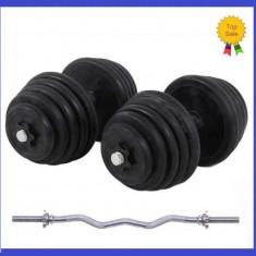 Gantere/Haltere - Set gantere cauciucate 2x25KG/Brat 50 KG + Bara cromata Z haltere 2x25 kg 50kg