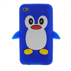 Husa Silicon iPod Touch 4 4th 4G negru pinguin + folie protectie ecran + expediere gratuita, Husa iPod