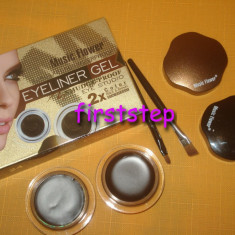 Kit sprancene Eye liner gel tus ochi Music flower negru maro - Creion contur ochi