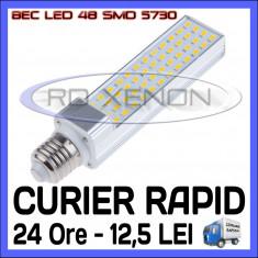 BEC LED APLICA E14, E27 - 48 SMD 5730 - ECH 90W, 890 LUMENI - ALB CALD, ALB RECE ZDM