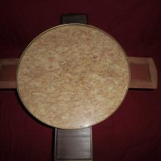 Mobilier - Masa de joc rotunda din lemn, alama si blat marmura 62x55 cm