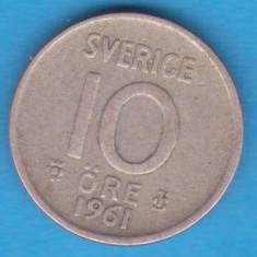(1) MONEDA DIN ARGINT SUEDIA - 10 ORE 1961, Europa, An: 1961