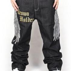 Pizoff Hip Hop Graffiti Print Baggy Jeans Denim - Blugi barbati Denim Republic, Lungi, Largi, Lasat