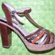 Sandale dama, Piele naturala - Sandale noi cu platforma, din piele, marimea 38