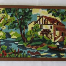 Tapiterie Goblen - GOBLEN-PEISAJ CU MOARA-inramat, vintage
