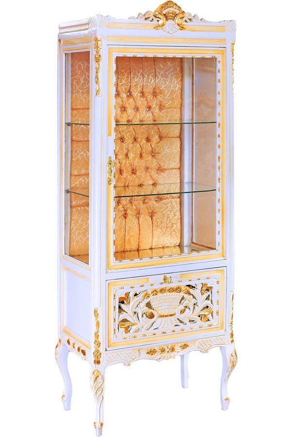 vitrina deosebita din lemn alb cu auriu mobilier dulapuri si rafturi pentru vesela baroc. Black Bedroom Furniture Sets. Home Design Ideas