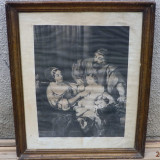 Litografie veche Stalin copil mic si familia OKAZIE UNICA