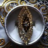 Inel inox - Inel masiv din alama galben cu zirconii, model superb