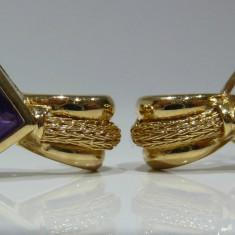Cercei aur 14k cu amethyst