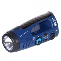 Lanterna Radio Incarcare Solara+Dinam Albastr