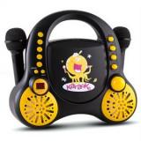 Auna Rockpocket pentru copii Karaoke Sistem CD AUX 2x microfon autocolant Set negru