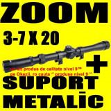 LUNETA airsoft Metalica cu ZOOM 3-7 X 20