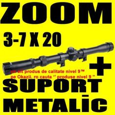 Luneta vanatoare - LUNETA METALICA cu ZOOM 3-7X20 pentru Arma Pusca Airsoft cu Aer Comprimat Tir