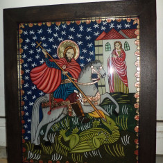 Icoana traditionala piesa deosebita foarte frumoasa pictata pe sticla in ulei 35 cm cu 27 - Icoana pe sticla