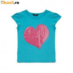 Haine Copii 1 - 3 ani, Tricouri, Fete - Nou! Tricou albastru cu inima, marca GEORGE, fetite 2-3 ani/ 92-98 cm