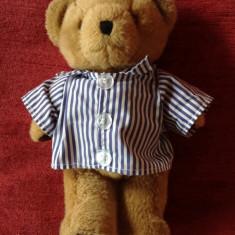 Ursulet de plus - Jucarie plus urs / ursulet, in pijama, ochi de sticla, 28 cm, nas de ata, decor,