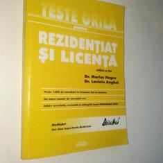 Carte Medicina - Teste grila pentru rezidentiat si licenta - 2002 Bucuresti
