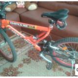FIRST BIKE BICICLETA - Mountain Bike Apple, 20 inch, 22 inch, Numar viteze: 21, Otel, Negru-Gri-Portocaliu