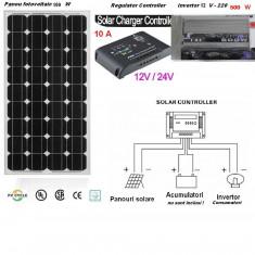 Panouri solare - Sistem Solar Fotovoltaic Complet 100 W Panou monocristalin Panouri Fotovoltaice