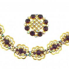 Set placat cu aur, brosa si bratara retro, cristale Bohemia, anii 1950, raritate - Set bijuterii placate cu aur