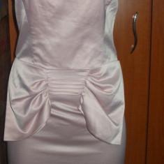 Rochie scurta roz pal satinata fara bretele mulata cu funda LIPSY 38 M - Rochie banchet Zara