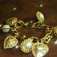 Bratara super placata aur galben de firma frantuzeasca cu perlute superbe! - Bratara placate cu aur