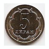Tadjikistan (Tajikistan) 5 Diram 2006 - 16.5 mm, KM-2 UNC !!!, Asia, An: 2006