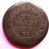 FRANTA 1 DECIME 1814 BB, NAPOLEON I, PUNCT DUPA DECIME SI DUPA AN KM# 700, Europa, An: 1814
