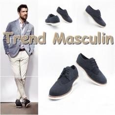 Pantofi barbati - Pantofi Piele Intoarsa Barbati Casual Elegant Derby Wingtip Albastri Inchis