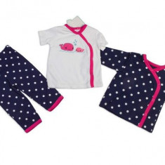 Haine dama - Set hainute 3 piese pentru bebelusi Balenele roz - BBN1204