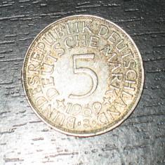 Moneda argint 5 marci Germania 1969, J, Europa