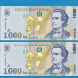 1000 lei 1998 UNC Filigran Mare Serii Consecutive