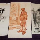 Reproducere, Portrete - Set 3 reproduceri in acuarela dupa Tablouri celebre, ilustratii de carte anii 50