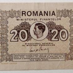 Bancnote Romanesti, An: 1945 - ROMANIA 20 LEI 1945 MIHAI I **