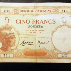 Indochina Noua Caledonie 5 Francs 1926 P#36