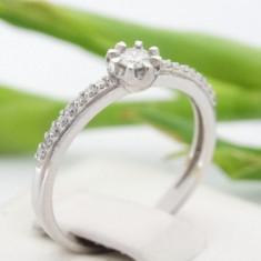 Inel aur alb 14k, diamante, 1.86 grame