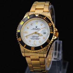 Ceas barbatesc Rolex, Elegant, Quartz, Placat cu aur, Placat cu aur, Data - CEAS ROLEX SUBMARINER GOLD&WHITE-SUPERB-PRET IMBATABIL-CALITATEA 1-POZE REALE