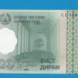Tajikistan 20 dirams 1999 UNC - bancnota asia