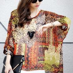 Bluza dama - BL407 Bluza vaporoasa de vara cu imprimeu colorat si maneci largi