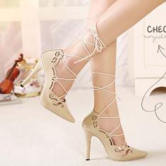Pantofi dama - CH2283-15 Pantofi cu toc inalt si prindere cu sireturi
