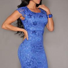 B265-4 Rochie conica albastra cu dantela - Rochie de seara, Marime: M