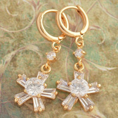Cercei superbi aur filat 9k cu cristale zirconiu 20159 - Cercei aur, Galben