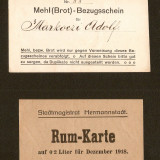 ROMANIA - Bon / Asignata Sibiu pt 0.2 litri de rom si paine - 1918, An: 1918