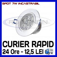 Bec/neon ZDM, Becuri economice, 50 - 100, > 10000, Interior - SPOT LED INCASTRABIL - 7W EPISTAR - ECHIVALENT 55W - ALB RECE SAU CALD